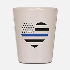 Blue Lives Matter Heart Shot Glass