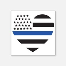"Blue Lives Matter Heart Square Sticker 3"" x 3"""