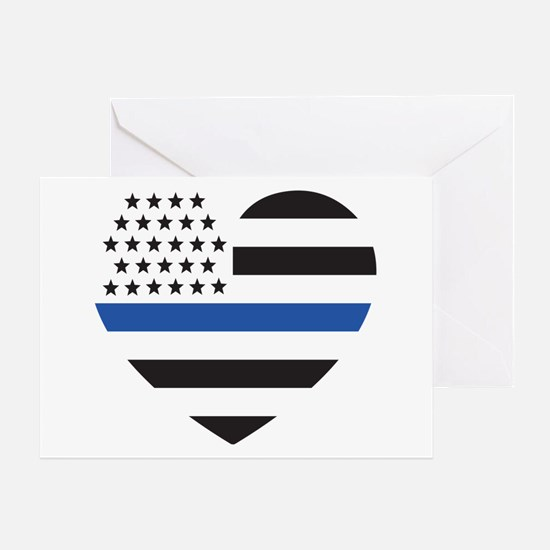 Blue Lives Matter Heart Greeting Card