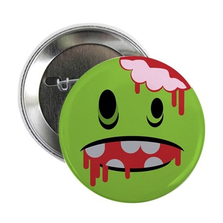 """unhappy undead zombie smiley 2.25"""" Button (10 pack"""