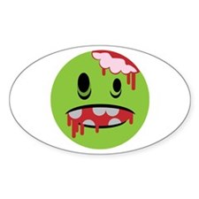unhappy undead zombie smiley Oval Decal