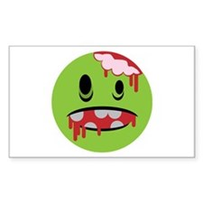 unhappy undead zombie smiley Rectangle Decal