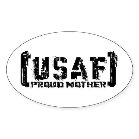 Proud USAF Mthr - Tatterd Style Oval Sticker