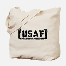 Proud USAF Grndson - Tatterd Style Tote Bag
