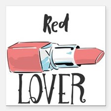 "Red Lover Square Car Magnet 3"" x 3"""