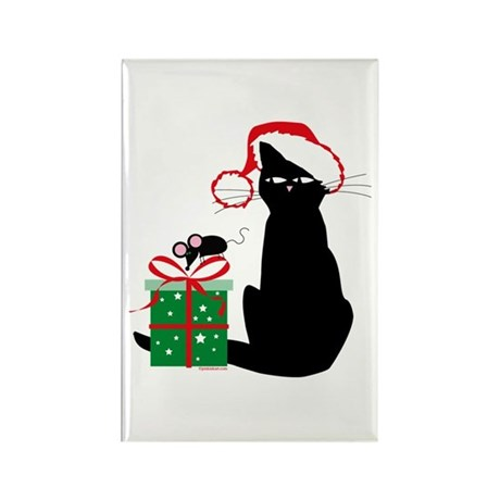 Santa Cat & Mouse Rectangle Magnet (10 pack)