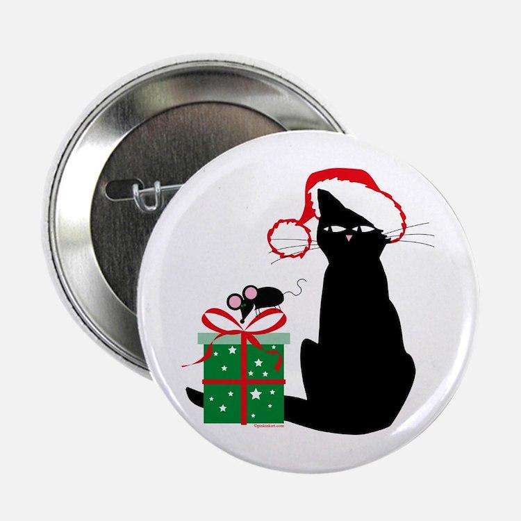 """Santa Cat & Mouse 2.25"""" Button"""