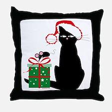 Santa Cat & Mouse Throw Pillow
