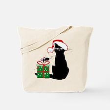 Santa Cat & Mouse Tote Bag