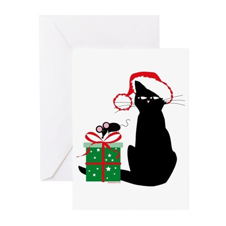 Santa Cat & Mouse Greeting Cards (Pk of 20)
