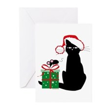Santa Cat & Mouse Greeting Cards (Pk of 10)