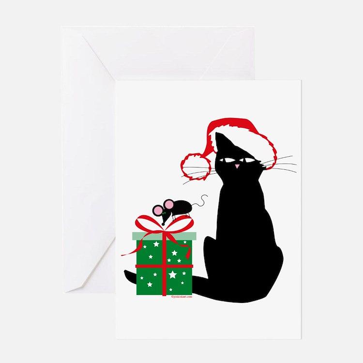 Santa Cat & Mouse Greeting Card
