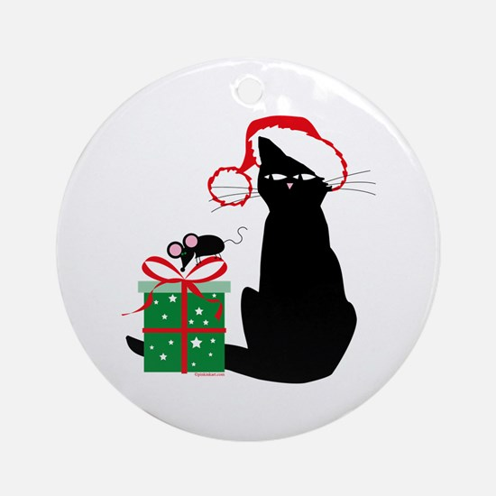 Santa Cat & Mouse Christmas Ornament (Round)