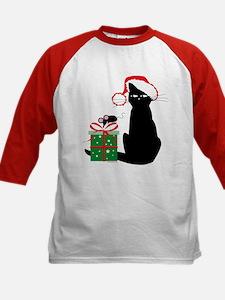 Santa Cat & Mouse Kids Baseball Jersey