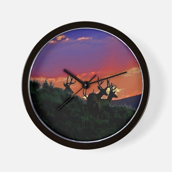 Sunset bucks Wall Clock