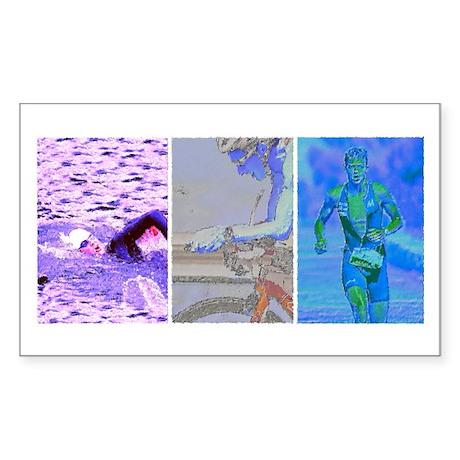 SOLO TRIATHLON TRIPTYCH PAINTING 2 Sticker (Rectan