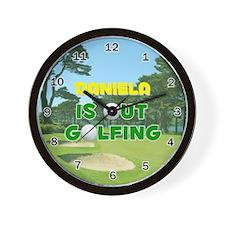 Daniela is Out Golfing - Wall Clock