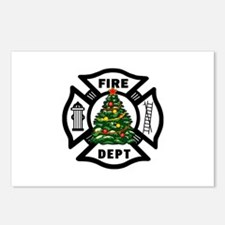 Firefighter Christmas Tre Postcards (Package of 8)