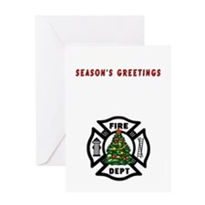 Firefighter Christmas Tree Greeting Card