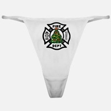 Firefighter Christmas Tree Classic Thong