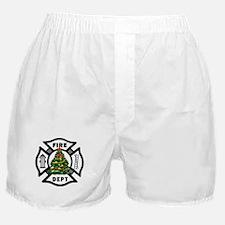 Firefighter Christmas Tree Boxer Shorts