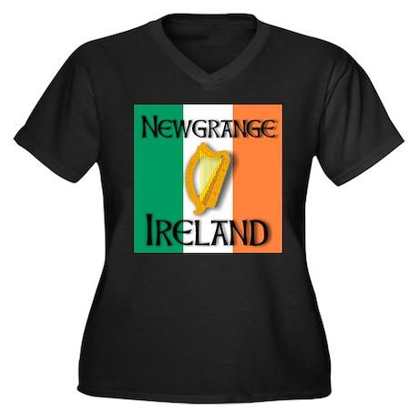 Newgrange Ireland Women's Plus Size V-Neck Dark T