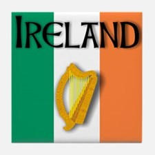 Ireland flag with Harp Tile Coaster