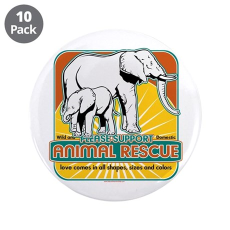 "Animal Rescue Elephants 3.5"" Button (10 pack)"