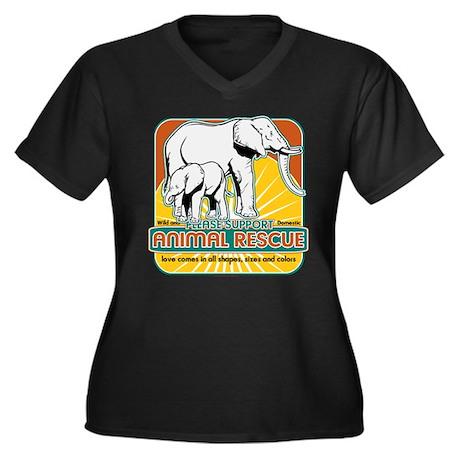 Animal Rescue Elephants Women's Plus Size V-Neck D