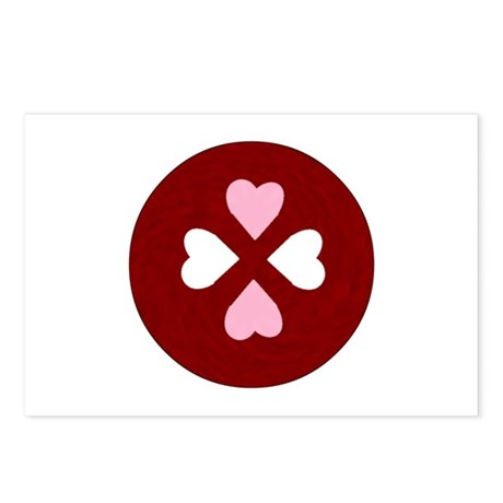 Four Hearts Round Postcards (Package of 8)