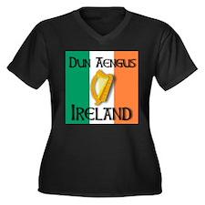 Dun Aengus Ireland Women's Plus Size V-Neck Dark T