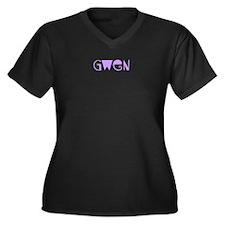 Gwen Women's Plus Size V-Neck Dark T-Shirt