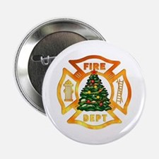 """Firefighter Christmas Tree 2.25"""" Button"""