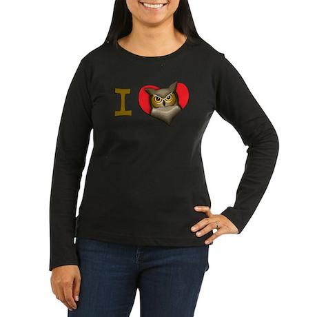 I heart owls Women's Long Sleeve Dark T-Shirt