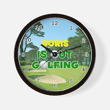 Doris is Out Golfing - Wall Clock