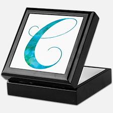Turquoise Script Letter C Monogram Keepsake Box