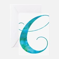 Turquoise Script Letter C Monogram Greeting Cards