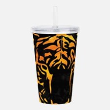 Orange Tiger Silhouett Acrylic Double-wall Tumbler
