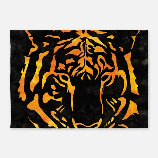 Orange Tiger Silhouette on Black Ba 5'x7'Area Rug
