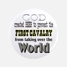 """First Cavalry, Beer & God 3.5"""" Button"""