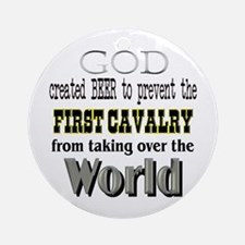 First Cavalry, Beer & God Ornament (Round)