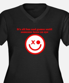 FUN AND GAMES TIL SOMEONE LOS Women's Plus Size V-