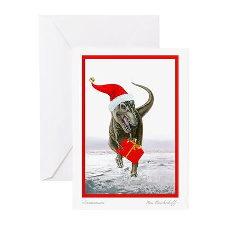 'Santasaurus' T-Rex Greeting Cards (10 pack) BLANK