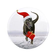 "'Santasaurus' T-Rex Dinosaur ~ Single 3.5"" Button"