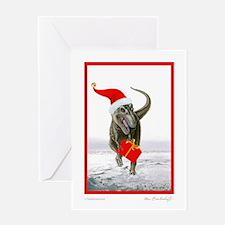 'Santasaurus' T-Rex ~ Single Greeting Card ~ BLANK