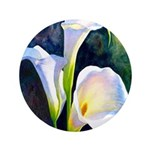 calla lilly art deco flower print Button