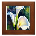 calla lilly art deco flower print Framed Tile