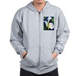 calla lilly art deco flower print Zipped Hoody