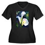 calla lilly art deco flower print Plus Size T-Shir