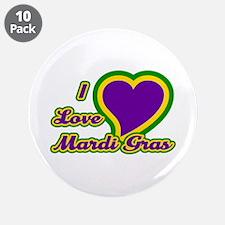 "I Love Mardi Gras 3.5"" Button (10 pack)"